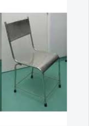 Polished Rectangular Stainless Steel Armless Chair