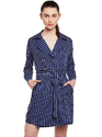 Casual Wear Printed Beautiful Designer Poly Crepe Navy Blue Trench Dress