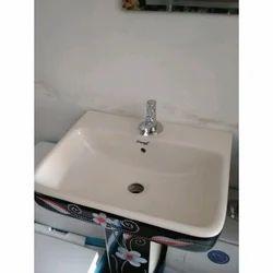 White Plain CERA Wash Basins, Shape: Rectangular