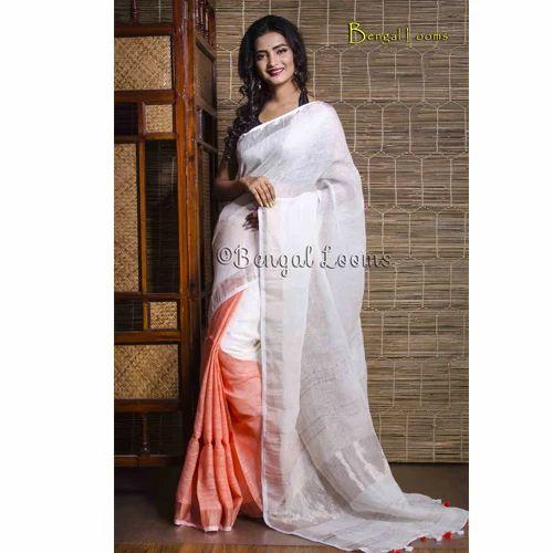 7e3678fe3d8 100 Count Linen Saree in White and Orange with Silver Border