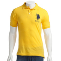Printed Yellow Cotton Polo T Shirt