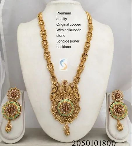 Gold Plated Polki Stones Necklace Set South Indian Traditional