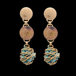 Women Fashion Coin Latest Design Turquoise Gemstone Stud Earrings
