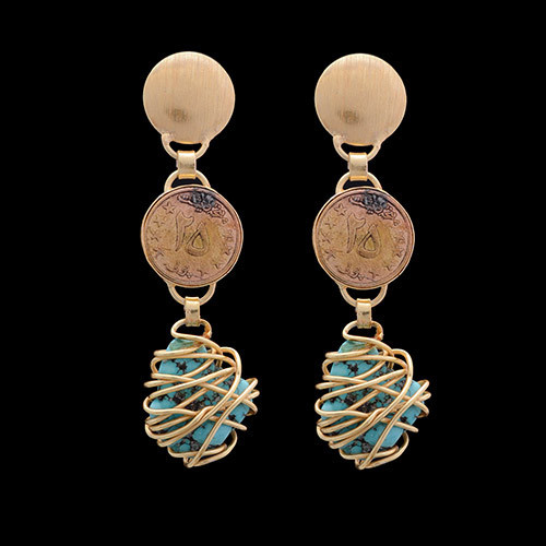 5050e9f3b Women Fashion Coin Latest Design Turquoise Gemstone Stud Earrings at ...
