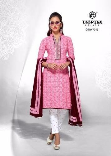 Casual Pink Reyan Fancy Ladies Cotton Suit