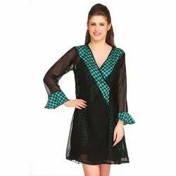 Printed Sleeveless Designer Black Babydoll Nightwear