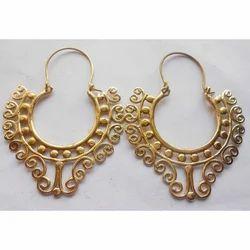 Handmade Spiral Gold Plated Brass Earrings
