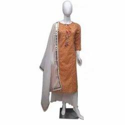 Stitched Ladies Cotton Palazzo Suit, Machine wash