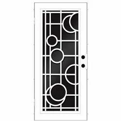 Mild Steel White Designer Safety Door
