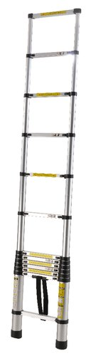 EQUAL Portable and Compact 7-Steps Telescopic Foldable Aluminium Anodized Silver Ladder