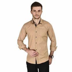 Cotton Casual Men Mustard Shirt