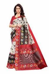 Kalamkari Printed Art Silk Saree With Blouse