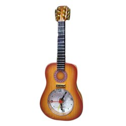 Brown Wooden Guitar Clock for Gifting Purpose
