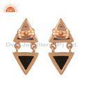 Black Onyx Lapis Lazuli Rose Gold Plated Silver Stud Earrings Jewelry