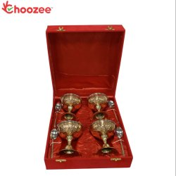 Choozee - Copper/Brass/SS Ice-Cream Cup Set with Spoon Set of 4 Pcs