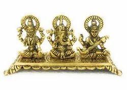 Gold Plated Laxmi Ganesh Saraswati Gift Item