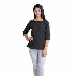 Plain Casual Wear Girls Designer Crepe Tops, Size: S-XXL