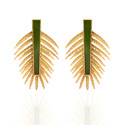 925 Sterling Silver Dazzling Outstanding Pine Micron Gold Plated Gemstone Earring