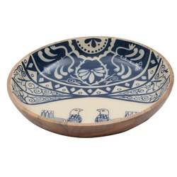 Decorative Blue and White Print Wooden Bowl