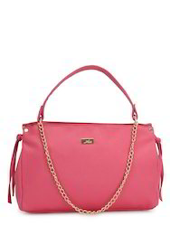 Yelloe Pink Synthetic Leather  Hand Bag With Stylish Front M