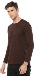 Brown Cotton Full Sleeves Men T Shirts