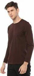 Brown Cotton Full Sleeves Men T Shirts