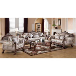Teak Wood Designer Sofa Set with Center Table