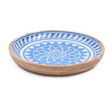 Blue White Enamel Round Wooden Serving Bowl