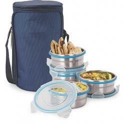 Stainless Steel Round Insulated Lunch Box, Packaging Type: Bulk, Thickness: 0.55 Mm Thick Containers