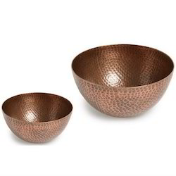 Hammered Round Copper Decorative Bowls, Size: 8 Inch 6 Inch, Capacity: 1 Litre