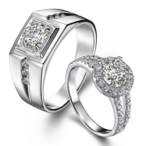 Zevrr Sterling Silver Crystal Platinum Plated Couple Ring Rs 1999