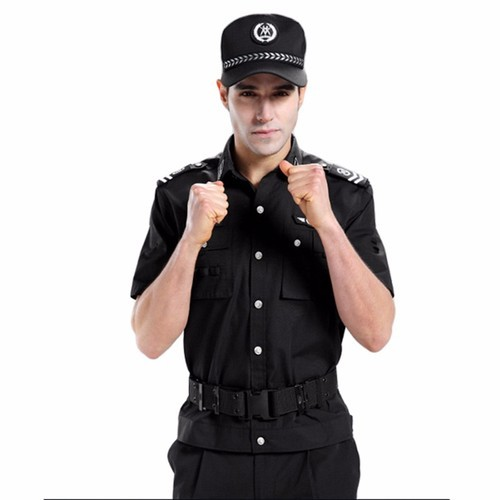 Black Cotton Security Guard Uniform, Size: Small