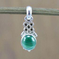 925 sterling silver women's jewelry malachite gemstone handmade pendant