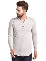 Pause Silver Solid Cotton Mandarin Slim Fit Full Sleeve Mens Knitted T-Shirt
