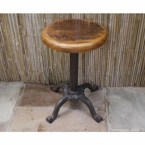 Wondrous Adjustable Round Wood And Metal Stool Ibusinesslaw Wood Chair Design Ideas Ibusinesslaworg