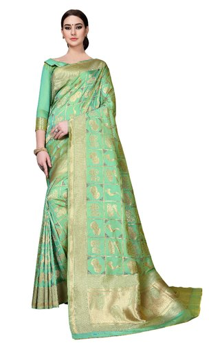 Multicolor Bridal Wear Bridal Silk Saree, Length: 6.3 m (with blouse piece)