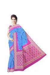 Pink And Blue Color Fancy Design  Banarasi Georgette Saree