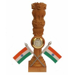 Wooden Clock With Flag