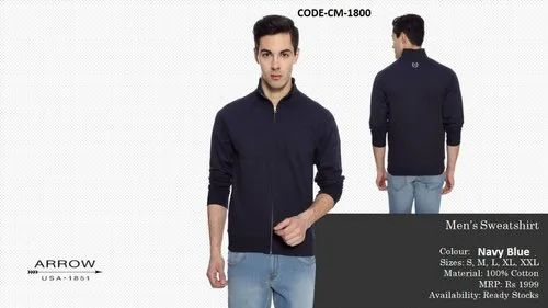 Men Collar Arrow Sweat Cotton Jacket Navy Blue Mrp 1999 With Zipper