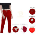 Ladies Red  Cotton Lycra Pants