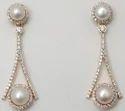 elegant stylish prong set diamond studded  pearl hanging earrings