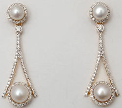Diamond Studded Pearl Hanging Earrings