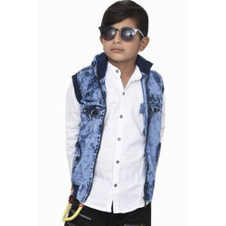 Boys Blue And White Solid Casual Denim Shirt