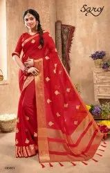 Red Color Fancy Chiffon Saree