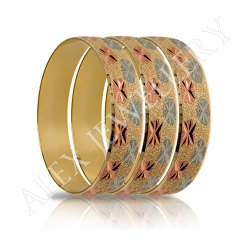 Brass Party Wear 3 Tone Silver,Rose And Forming Gold Bangle Bracelet