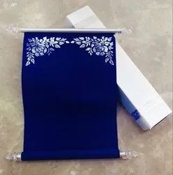 Royal Blue Scroll Invite