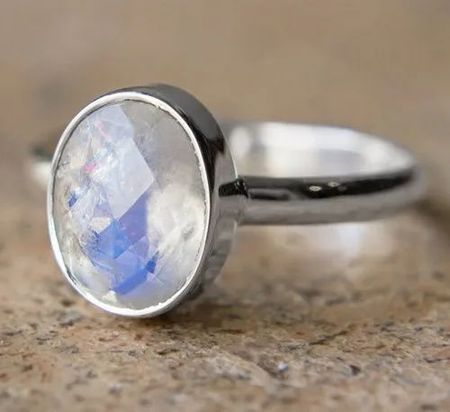 Faceted Oval Rainbow Moonstone Ring