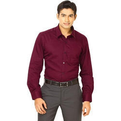 36-50 Plain Mens Maroon Formal Shirts
