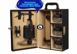 Black Leather and Wooden Pegasus Premium Travel Bar Box, Size: 8 X 6 X 12 Inch