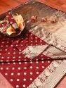 Banarasi Silk Casual Wear Red Saree With Blouse Piece